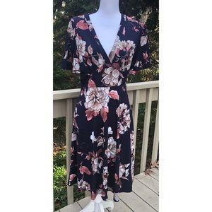 Gilli V-Neck Floral Fit & Flare Dress